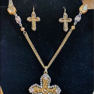 Jewelry - Brand New 3 pc Cross Necklace -Matching Earrings